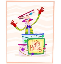 happy clown birthday greeting vector image