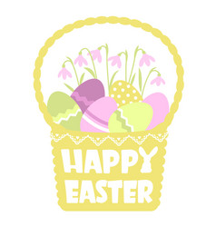 happy easter basket silhouette and color eggs vector image