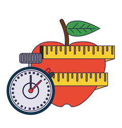 Healthy lifestyle and weight loss blue lines vector