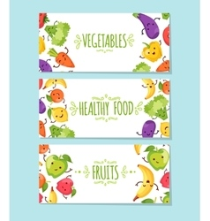 Healty food cartoon representing banners vector image