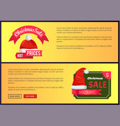 Hot prices christmas sale web banners push buttons vector