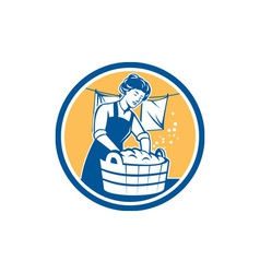 Housewife Washing Laundry Vintage Circle vector