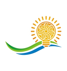 idea of sunset light bulb leaves line symbol vector image