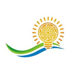 Idea of sunset light bulb leaves line symbol vector