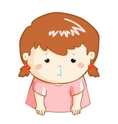 Ill girl runny nose cartoon vector