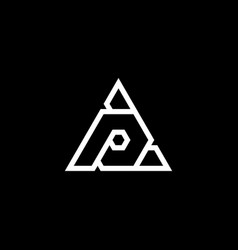 initial letter p logo template with triangle line vector image