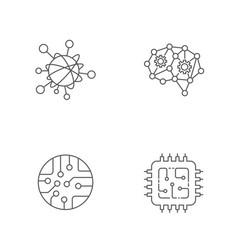 Iot ai big data microchip icon set vector