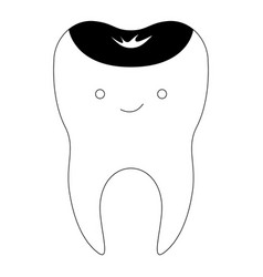 Kawaii restored tooth with root in black vector