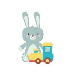 Kids toy cute rabbit and train wagon toys vector