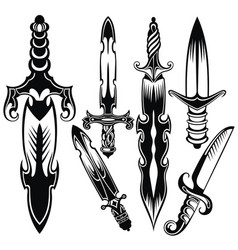 knife sword symbols vector image