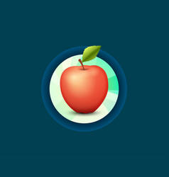 label emblem of fresh tasty apple isolated on dark vector image