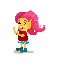 Lovely smiling girl troll with pink hair funny vector