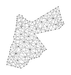 Map of jordan from polygonal black lines and dots vector
