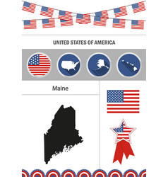 map of maine set of flat design icons nfographics vector image