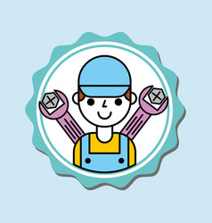 Mechanic boy in overalls with tools car service vector