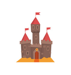Medieval castle with flanking towers wooden gate vector