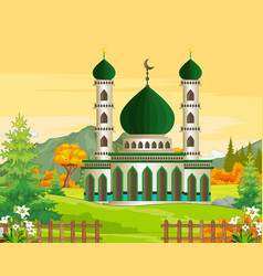 Mosque with autumn forest vector
