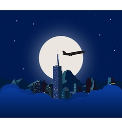 Night city with white moon vector