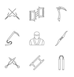 Ninja arsenal icons set outline style vector
