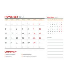November 2019 week starts on monday calendar vector