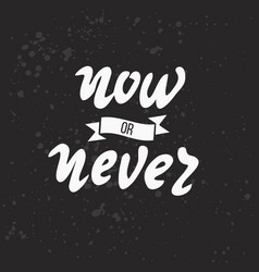 now or never lettering vector image