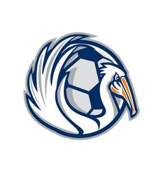 Pelican wings soccer retro vector