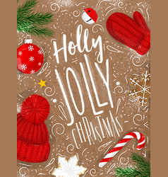 Poster holly jolly christmas craft vector