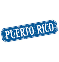 Puerto rico blue square grunge retro style sign vector
