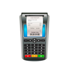 Realistic nfc pos terminal for payment debit or vector
