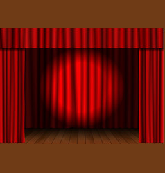 red open curtain with spotlight and wood floor in vector image