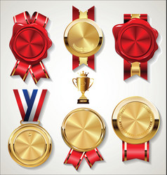 red stamp wax seal with golden ribbon isolated on vector image