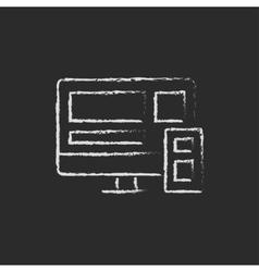 Responsive web design icon drawn in chalk vector