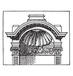 Roman niche-cap at baalbek in syria vintage vector