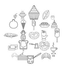saccharose icons set outline style vector image