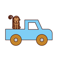 Safari van of plato with monkey vector