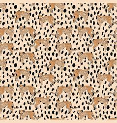 Seamless cheetah pattern on animal skin vector