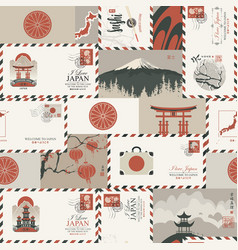 seamless pattern on theme japan vector image