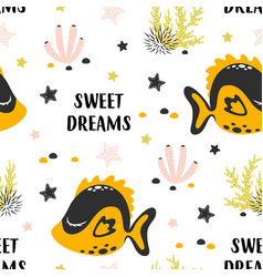 seamless pattern with cute fish isolated on white vector image