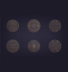 set art deco linear circles linear vector image