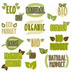 Set of organic eco and bio labels vector image