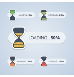 Set of sand clock progress bars vector