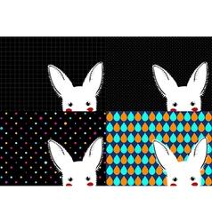 Set White Rabbit Background vector image