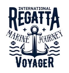 Ship anchor t-shirt print sea regatta cruise vector