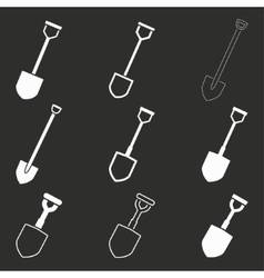 Shovel icon set vector image