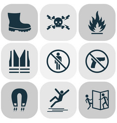 sign icons set with boot safety vest strong vector image