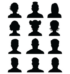 silhouettes avatar profile icons vector image