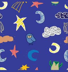 sky owl cloud star seamless repeat pattern design vector image