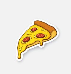 Sticker pizza slice vector