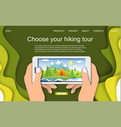 summer camping and hiking landing page design vector image