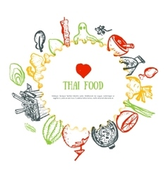 Thai food hand drawn rough doodles Thai sketch vector